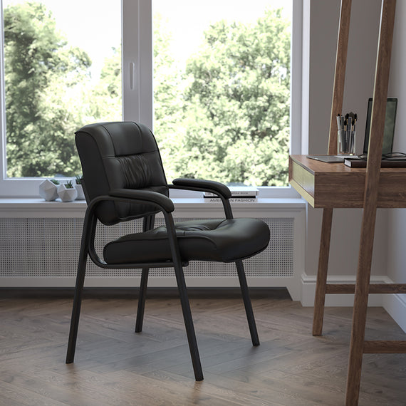 Brown LeatherSoft Executive Side Reception Chair with Black Metal Frame [BT-1404-BN-GG]