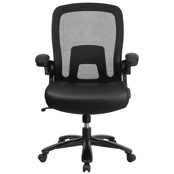 HERCULES Series Big & Tall 500 lb. Rated Black Mesh/LeatherSoft Executive Ergonomic Office Chair with Adjustable Lumbar [BT-20180-LEA-GG]