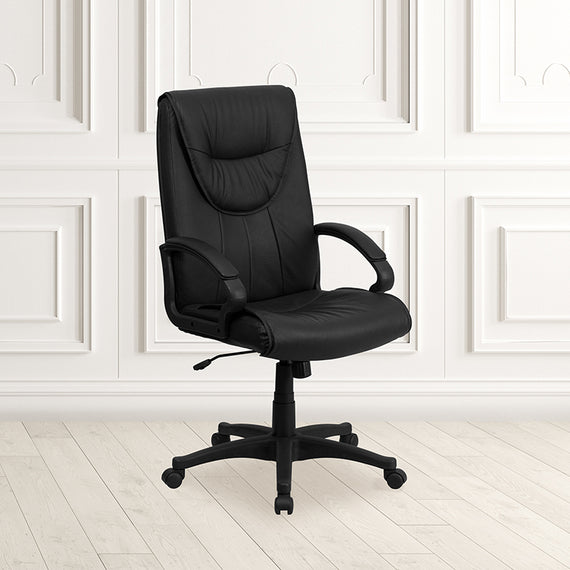 High Back Black Leather Executive Swivel Office Chair with Arms [BT-238-BK-GG]