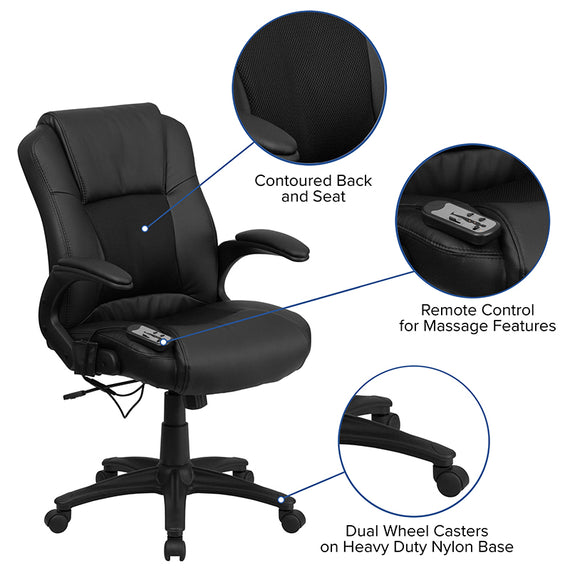 Ergonomic Massaging Black LeatherSoft Executive Swivel Office Chair with Arms [BT-2536P-1-GG]
