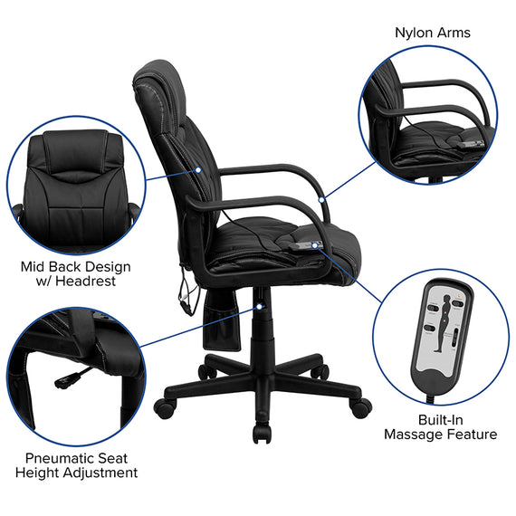 Mid-Back Ergonomic Massaging Black LeatherSoft Executive Swivel Office Chair with Arms [BT-2690P-GG]