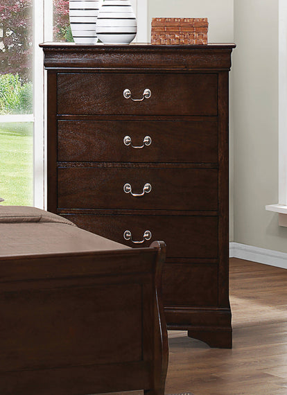 Louis Philippe 5-Drawer Chest With Silver Bails Cappuccino - 202415