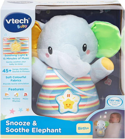 Vtech Toys Baby Snooze & Soothe Elephant Cuddly Soft Toy - 80-508603