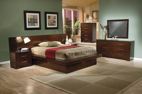 Jessica Queen Platform Bed With Rail Seating Cappuccino 4PC Set - SET4PC200711Q