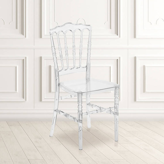 Elegance Crystal Ice Napoleon Stacking Chair - BH-H002-CRYSTAL-GG