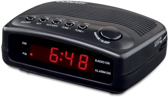 Conair Clock Radio with Single Day Alarm ensures that guests will not be awakened by alarms set on the previous day. Basic and easy to use, this unit features a buzzer or FM radio alarm and has snooze and sleep functions- C-WCR02