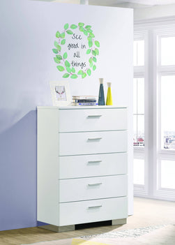 Felicity 5-Drawer Chest Glossy White - 203505