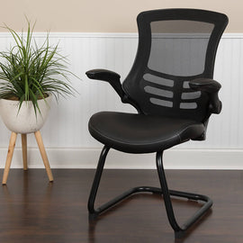 Black Mesh Sled Base Side Reception Chair with White Stitched LeatherSoft Seat and Flip-Up Arms - BL-X-5C-BK-LEA-GG