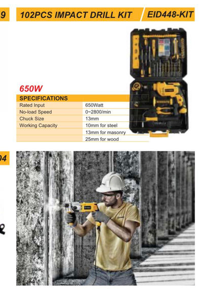 "Worksite Impact Drill Kit 102 Pcs with Chuck Size 13mm(1/2""), 650W Impact Drill, Adjustable speed, Reversible, EID448-KIT-110V"