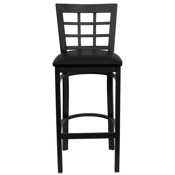 HERCULES Series Black Window Back Metal Restaurant Barstool - Black Vinyl Seat [XU-DG6R7BWIN-BAR-BLKV-GG]