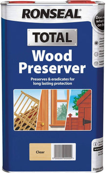 Ronseal Total Wood Preserver (Clear Solventbased Preservers) 2.5 Litres Ideal pre-treatment for interior and exterior wood and suitable for over painting - 37654