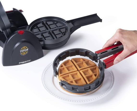 Presto Stuffler Stuffed Waffle Maker makes it easy to use fresh fruits, pie fillings, candy, chocolate, cheese, meats and more to make delicious stuffed waffles in minutes - 3512