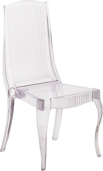 Elegance Crystal Ice Stacking Chair with Full Back Vertical Line Design - BH-K002-CRYSTAL-GG
