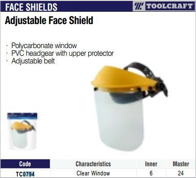 Toolcraft Adjustable Face Shield  (40079)