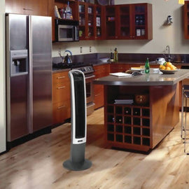 "Lasko 42"" Tower Fan - Wind Curve Platinum equipped with a Fresh Air Ionizer and has a high reaching capacity for maximum air delivery - 52448"