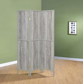 Coaster Home Furnishings Rustic Grey Driftwood Three-Panel Screen Room Divider 961515
