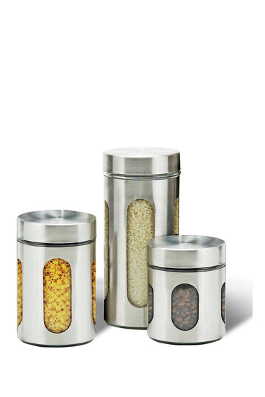 Diamond Home 3-Piece Stainless Steel & Glass Storage Canister - DH - 10332