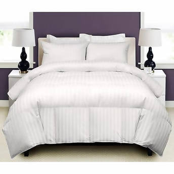"Hotel Grand Down Comforter Full-Queen Enjoy this hotel quality White Goose Down Comforter with a smooth 500 thread count 100% Cotton down proof fabric cover, woven with an elegant 1"" damask stripe - 380017"