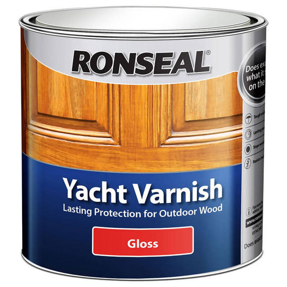 Ronseal Yacht Varnish Clear Gloss 2.5 Litres - Protects The Wood From Damaging UV Rays Whilst Waterproofing To Prevent Water Damage - 34769