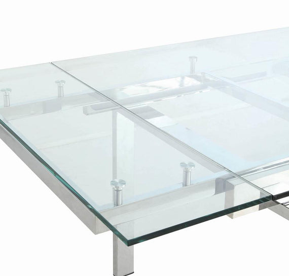 Wexford Glass Top Dining Table With Extension Leaves Chrome 106281