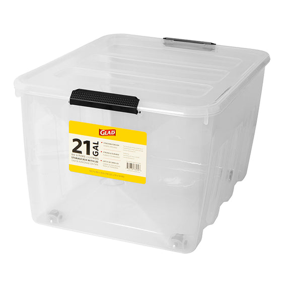 Glad Storage 21 Gallon Snap & Lock Box with Wheel Clear Rolling Storage Bins are stackable locking lid storage totes with wheels Great for storing almost anything- GLD-76539