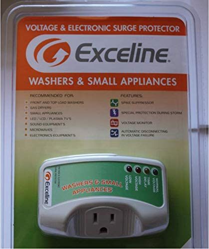 Exceline Electronic Surge Protector for Washer and Small Appliances Ideal for Front and Top load Washer Gas Dryer Small Appliances LED LCD Plasma TV's Sound Equipment and Microwaves- GSM-MP120E