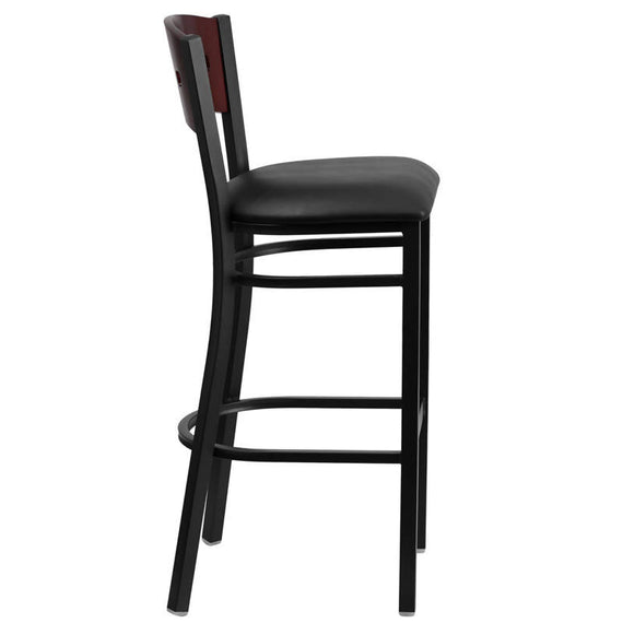 HERCULES Series Black 4 Square Back Metal Restaurant Barstool - Mahogany Wood Back, Black Vinyl Seat [XU-DG-60515-MAH-BAR-BLKV-GG]