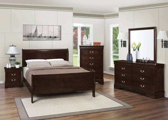 Louis Philippe Eastern King Panel Sleigh Bed Cappuccino - 202411KE