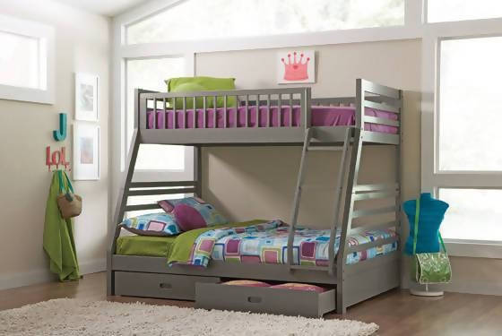 Ashton Twin Over Full Bunk 2-Drawer Bed Grey - 460182