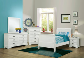 Louis Philippe Twin Sleigh Panel Bed White - 204691T