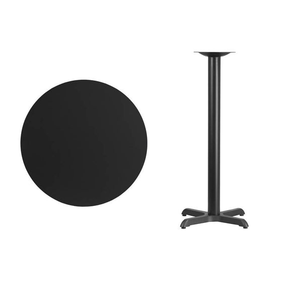 30'' Round Black Laminate Table Top with 22'' x 22'' Bar Height Table Base [XU-RD-30-BLKTB-T2222B-GG]