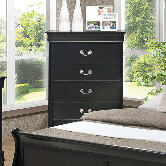 Louis Philippe 5-Drawer Chest Black - 212415