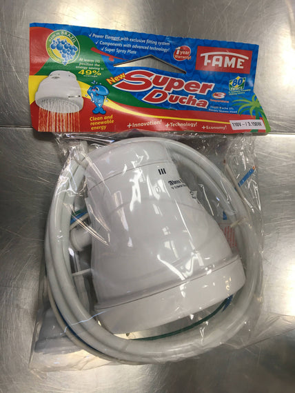 Fame Super Ducha Shower Heater, Three Temperatures Control, Electric Shower Head, 49% Energy Saving, Complete Package - PAC017423