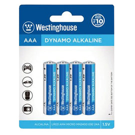 WESTINGHOUSE ALKALINE AAA BATTERY 4PK, Offering long lasting power, Battery delivers a stable current ideal for high drain devices with dynamic instantaneous power. Ideally for Cameras, Wireless Mouse & Keyboard, Game Controller, Shavers, Toys - LR03BP4