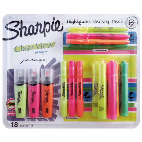 Sharpie Highlighter Mixed 18 pc Sharpie highlighters and Each highlighter a barrel and ink supply for dependable marking-391740