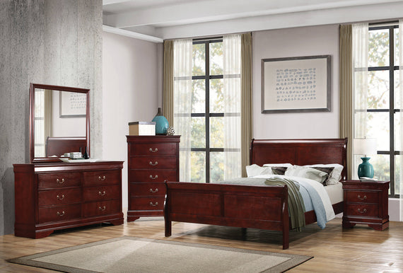 Louis Philippe Full Panel Sleigh Bed Cherry - 222411F