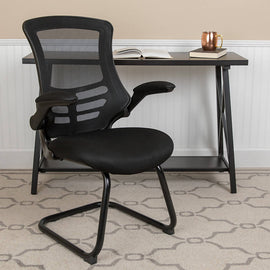 Black Mesh Sled Base Side Reception Chair with Flip-Up Arms - BL-X-5C-GG