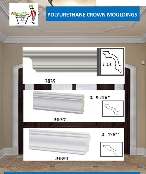 MOULDING Plain Crown Moulding Polyurethane- 8FT LENGTH in 12 Designs