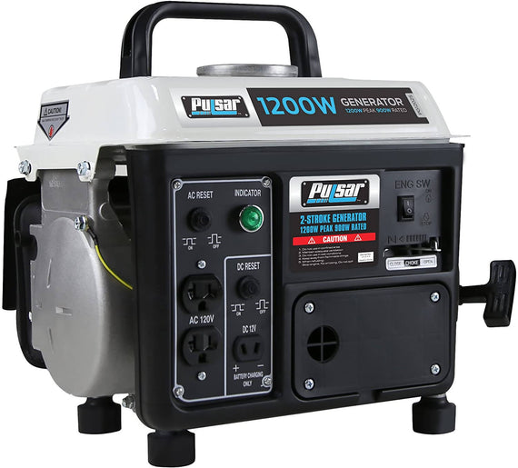 Pulsar Portable Generator 1200 W his Pulsar Gas 2 Stroke Peak 1200W Generator has a maximum output of 1200W/60HZ and rated output of 900w/60HZ -312240