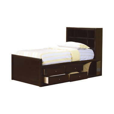 Phoenix Full Bookcase Bed With Underbed Storage Cappuccino - 400180F
