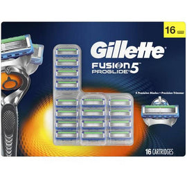 Gillette Fusion ProGlide Cartridges 16 Units Flexball technology that responds to contours and gets virtually every hair with | Precision trimmer | Fits all Gillette 5-blade razor handles. / 17362
