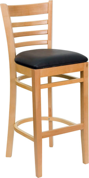 HERCULES Series Ladder Back Natural Wood Restaurant Barstool - Black Vinyl Seat [XU-DGW0005BARLAD-NAT-BLKV-GG]
