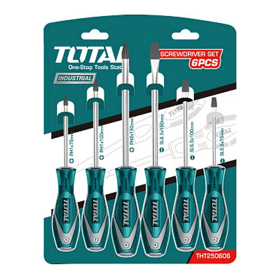 TOTAL 6 PCS SCREWDRIVER SET  , PH1 x 5 x 75mm, PH1 x 5 x 100mm, PH2 x 6 x 150mm, SL6. 5 x 150mm, SL5. 5 x 100mm and SL5. 5 x 75mm - THT250606