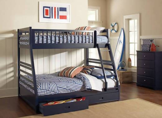 Ashton Twin Over Full 2-Drawer Bunk Bed Navy Blue - 460181