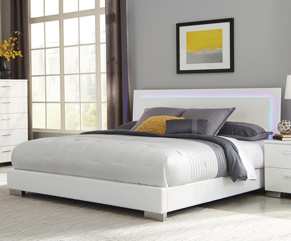 Felicity California King Panel Bed With LED Lighting Glossy White - 203500KW