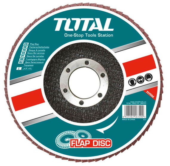 "Total 4 1/2"" (115x22mm) 80 Grit Flap Disc - Ideal for steel, cast iron and sheet steel - TAC631153"
