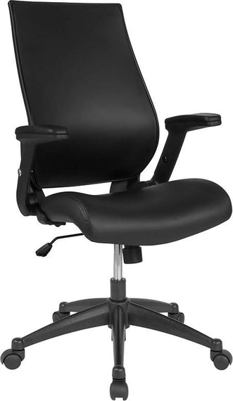 High Back Black LeatherSoft Executive Swivel Office Chair with Molded Foam Seat and Adjustable Arms - BL-LB-8809-LEA-GG
