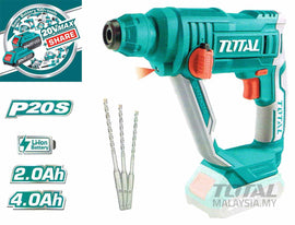 Total 20 Volt 2.0 Ah / 4.0 Ah Lithium Ion SDS-Plus Cordless Handheld Rotary Hammer Drill - Hammers through the toughest materials like concrete and masonry - TRHLI1601