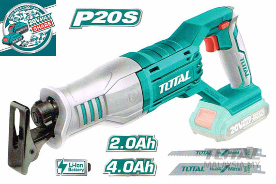 Total 20 Volt 2.0Ah / 4.0Ah Lithium Ion Cordless Handheld Reciprocating Saw (Sawzall) - For cutting wood, metal, ceramic, tile, plastic, even tree limbs - TRSLI1151
