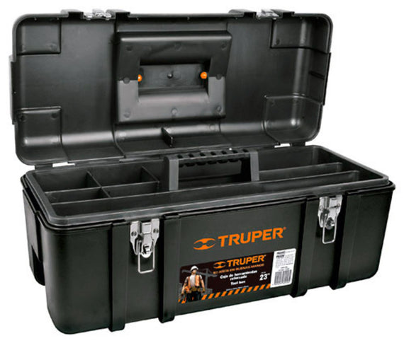 Truper Portable Tool Storage Box, Organizers With Foldable Latches And Removable Tray,Classical Black  11506
